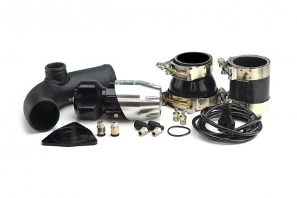 Hyundai Genesis 2.0T 2010-2012 Synchronic BOV Kit with Black Powdercoat Charge Pipe Silver/Black BOV