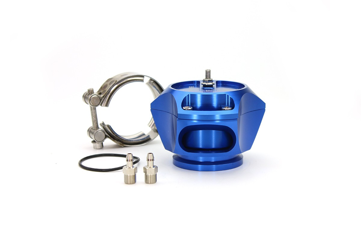 R55V Blue BOV w/ SS V-Band clamp only for kit builders. The Synchronic R55V Trident blow-off valve is a full atmospheric Radial style BOV with a 55 mm valve body designed to fit existing 50 mm flange designs on the market. It incorporates ultra-fast actua
