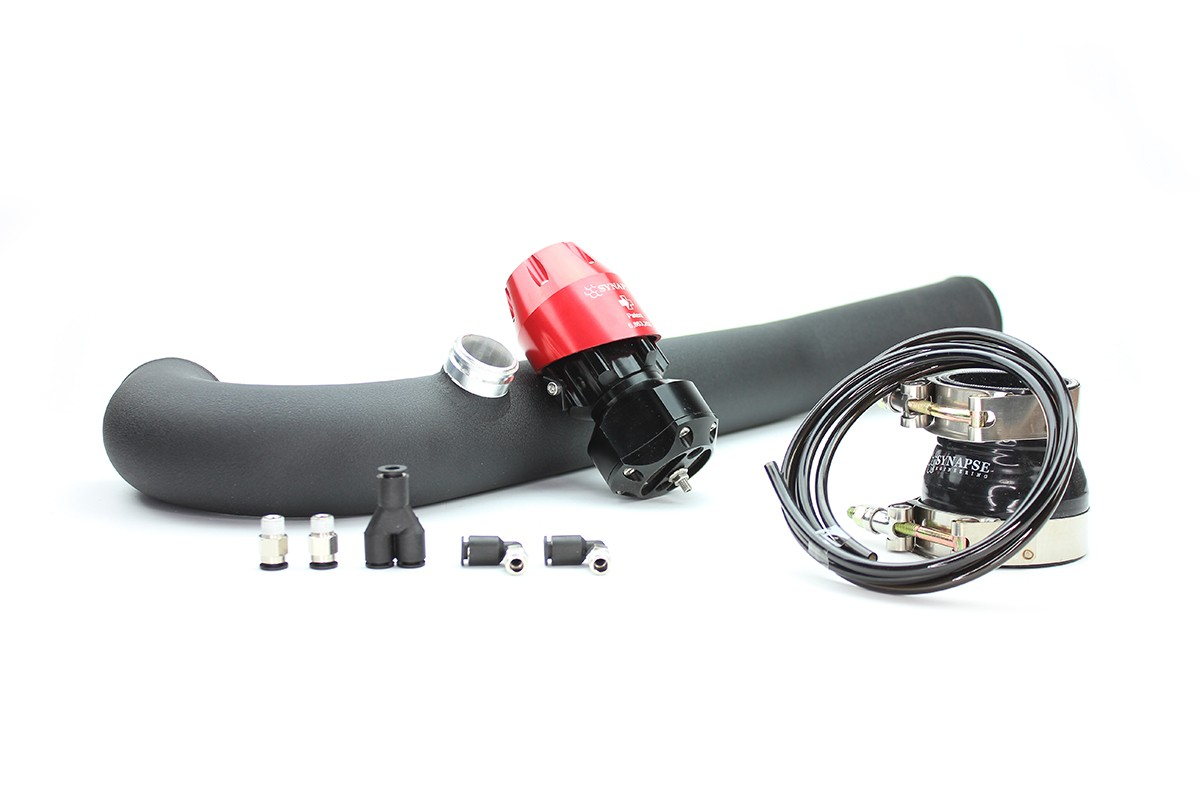 2015-2017 Ford Mustang 2.0L Ecoboost Hot-Side Pipe Kit Valve-Synchronic Blow-Off Valve Valve Color-Red Pipe Finish & Material-Powder Coated Aluminum Black