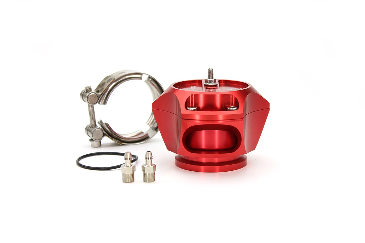 R55V Red BOV w/ SS V-Band clamp only for kit builders.  The Synchronic R55V Trident blow-off valve is a full atmospheric Radial style BOV with a 55 mm valve body designed to fit existing 50 mm flange designs on the market. It incorporates ultra-fast actua