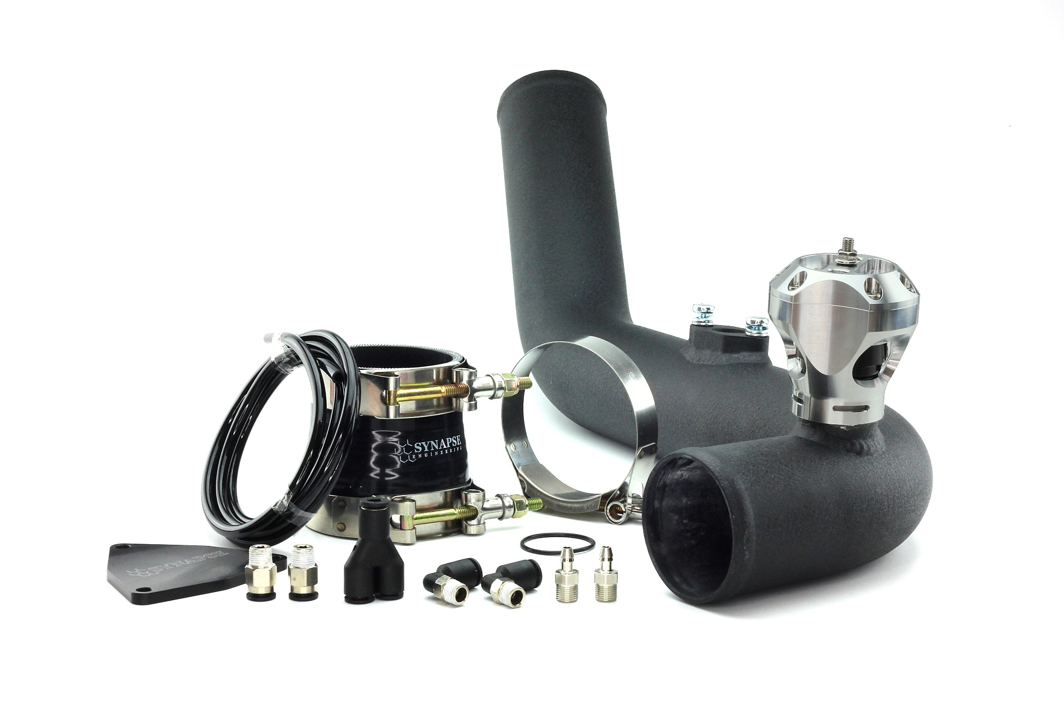 Hyundai Genesis 2.0T 2013 v2 R35 Radial Trident Kit with Black Powdercoat Charge Pipe - Silver/Black BOV