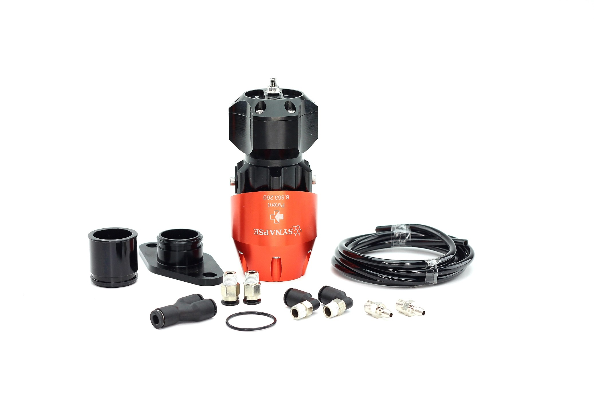 Mitsubishi Eclipse GST/GSX 1990-1994, Evo 5 and Eagle Talon TSi 1990-1994 Synchronic BOV Kit Orange/Black BOV