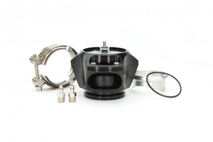 R55V Black BOV w/ Aluminum Weld Flange and SS V-Band clamp. The Synchronic R55V Trident blow-off valve is a full atmospheric Radial style BOV with a 55 mm valve body designed to fit existing 50 mm flange designs on the market. It incorporates ultra-fast a
