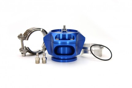 R55V Blue BOV w/ Aluminum Weld Flange and SS V-Band clamp. The Synchronic R55V Trident blow-off valve is a full atmospheric Radial style BOV with a 55 mm valve body designed to fit existing 50 mm flange designs on the market. It incorporates ultra-fast ac