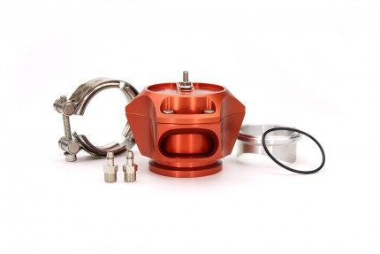 R55V Orange BOV w/ Aluminum Weld Flange and SS V-Band clamp. The Synchronic R55V Trident blow-off valve is a full atmospheric Radial style BOV with a 55 mm valve body designed to fit existing 50 mm flange designs on the market. It incorporates ultra-fast