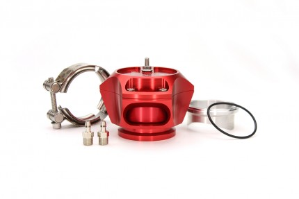 R55V Red BOV w/ Aluminum Weld Flange and SS V-Band clamp. The Synchronic R55V Trident blow-off valve is a full atmospheric Radial style BOV with a 55 mm valve body designed to fit existing 50 mm flange designs on the market. It incorporates ultra-fast act