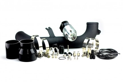 BMW 135i/335i 2007-2010 N54 Synchronic BOV Kit with Black Powdercoat Charge Pipe Silver/Black BOV