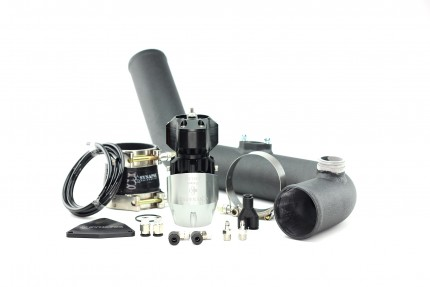 Hyundai Genesis 2.0T 2013 Synchronic BOV Kit with Black Powdercoat Charge Pipe - Silver/Black BOV