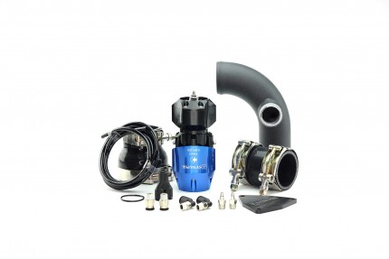 Hyundai Genesis 2.0T 2010-2012 Synchronic BOV Kit with Black Powdercoat Charge Pipe Blue/Black BOV