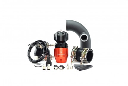 Hyundai Genesis 2.0T 2010-2012 Synchronic BOV Kit with Black Powdercoat Charge Pipe Orange/Black BOV