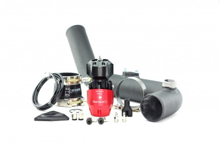 Hyundai Genesis 2.0T 2013 Synchronic BOV Kit with Black Powdercoat Charge Pipe - Red/Black BOV